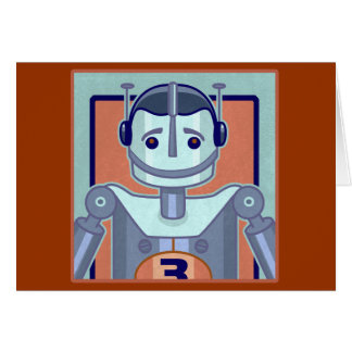 Cartes Rétros enfants bleus de robot