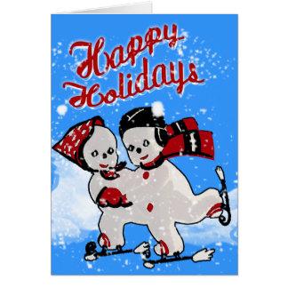 Cartes Rétros patineurs mignons de bonhommes de neige -