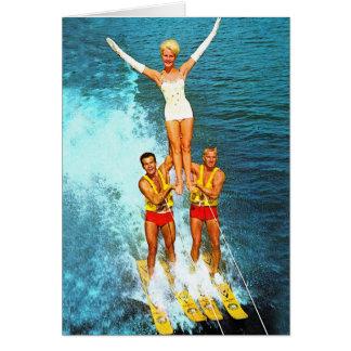 Cartes Rétros skieurs vintages de l'eau de vallons de