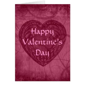 Cartes Rose antique de coeur de Saint-Valentin