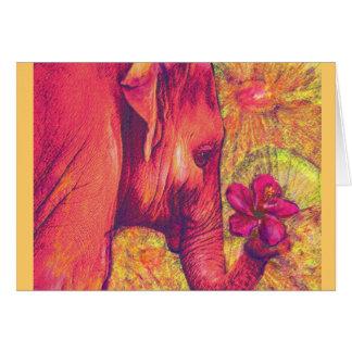 Cartes rose elepant avec la ketmie
