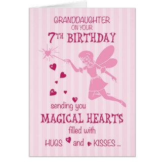 Cartes Rose féerique magique de 7ème anniversaire de