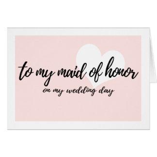 """Cartes Rose mignon """"à ma domestique d'honneur mon jour du"""