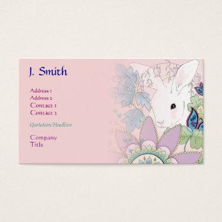 Cartes roses d'affaires/profil de lapin