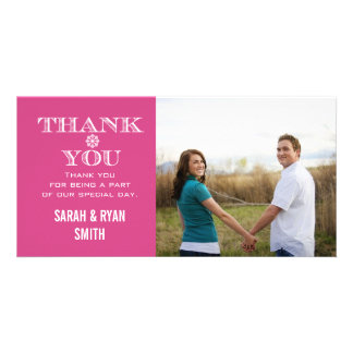 Cartes roses de Merci de photo de mariage de floco Cartes De Vœux Avec Photo