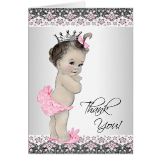 Cartes roses de Merci de princesse baby shower