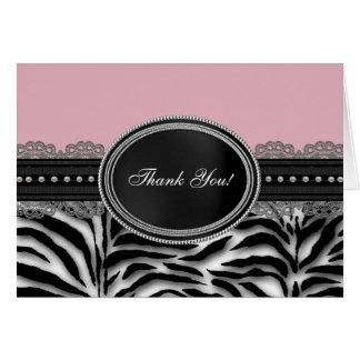 Cartes roses de Merci de zèbre