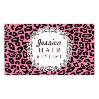 Cartes roses de rendez-vous de coiffeur d'empreint carte de visite standard