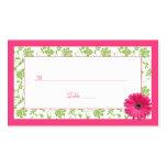 Cartes roses d'endroit de mariage damassé de vert  cartes de visite professionnelles