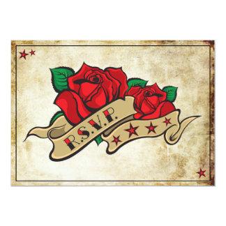 Cartes roses du balancier RSVP de tatouage de Carton D'invitation 12,7 Cm X 17,78 Cm