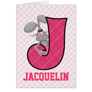 """Cartes roses du monogramme """"J"""" du lièvre de"""