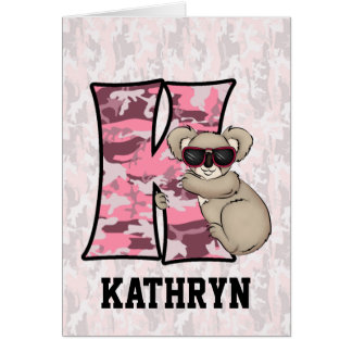 "Cartes roses du monogramme ""K"" du koala de"