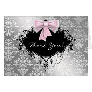 Cartes roses et argentées de Merci de damassé