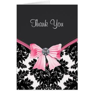 Cartes roses et noires de Merci de damassé