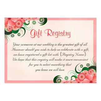 Cartes roses florales de liste de cadeaux de carte de visite grand format