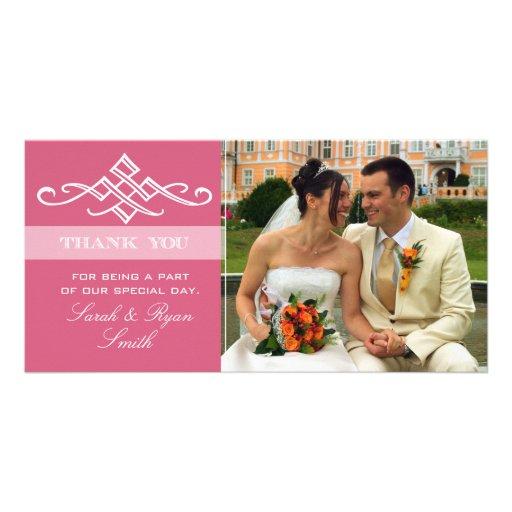 Cartes roses modernes de Merci de photo de mariage Cartes Avec Photo