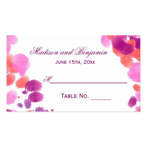 Cartes roses pourpres d'endroit de mariage cartes de visite personnelles