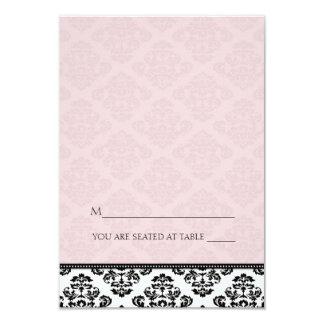 Cartes roses se pliantes d'endroit de damassé de invitations personnalisables