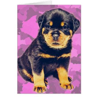 Cartes Rottweiler sur Camo rose pour toute occasion