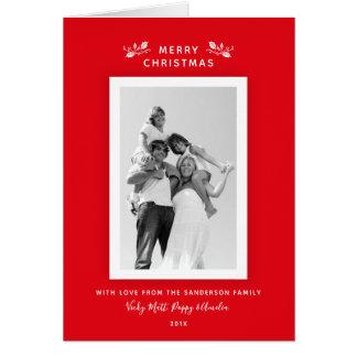 Cartes Rouge classique simple élégant + Photo de Noël