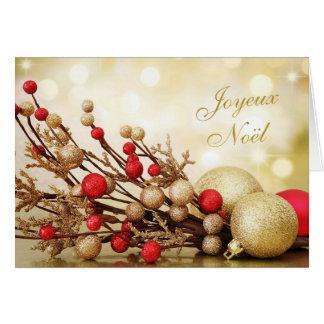 Cartes Rouge et Noël de Français de Joyeux Noël de