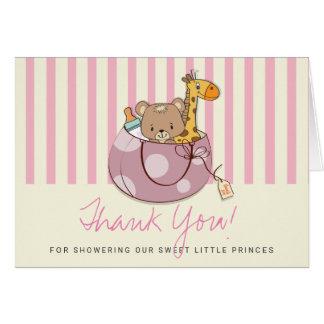 Cartes Rougissent le Merci rose de baby shower d'animaux