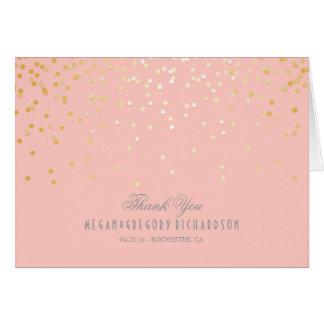 Cartes Rougissent le Merci rose de mariage de confettis