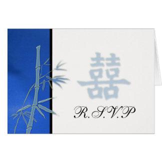 Cartes RSVP - Double bonheur bleu asiatique épousant RSVP