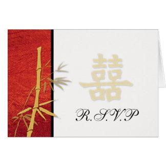 Cartes RSVP - Double bonheur rouge asiatique épousant