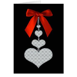 Cartes - Rubans et coeurs rouges - Saint-Valentin