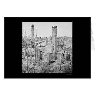 Cartes Ruines brûlées des cheminées à Richmond 1865
