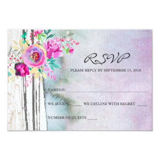Cartes rustiques de l'aquarelle RSVP de jardin Carton D'invitation 8,89 Cm X 12,70 Cm