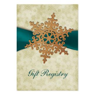 cartes rustiques de liste de cadeaux de flocons de carte de visite grand format