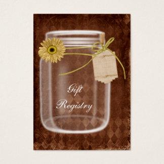 cartes rustiques de liste de cadeaux de pot de
