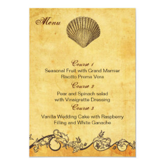 cartes rustiques de menu de mariage de plage de carton d'invitation  12,7 cm x 17,78 cm