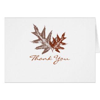Cartes rustiques de Merci de feuille de chêne