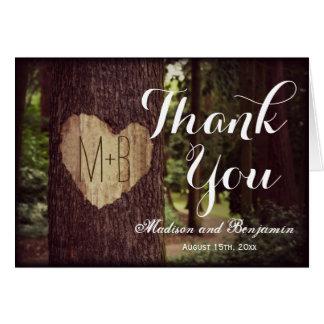 Cartes rustiques découpées de Merci de mariage