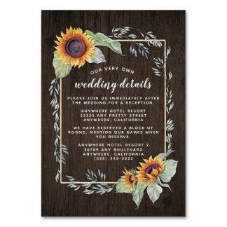 Cartes rustiques d'insertion de mariage