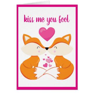 Cartes Saint-Valentin de coeur de Fox personnalisée par
