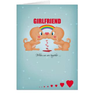 Cartes Saint-Valentin lesbienne d'amie embrassant des