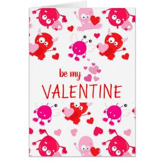 Cartes Saint-Valentin mignonne de monstre personnalisée