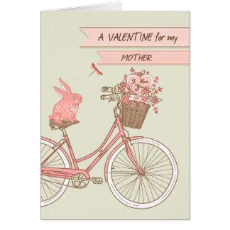 Cartes Saint-Valentin pour la mère, bicyclette, lapin