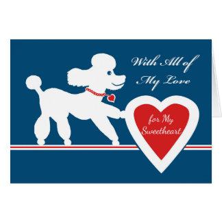 Cartes Saint-Valentin pour l'amoureux, caniche mignon