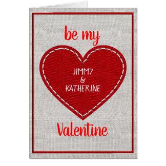 Cartes Saint-Valentin rouge de coeur personnalisée par