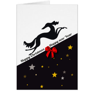 Cartes Saluki YIN Happy Christmas, Happy new year