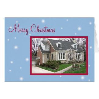 Cartes Salutation bleue neigeuse de vacances de Noël de