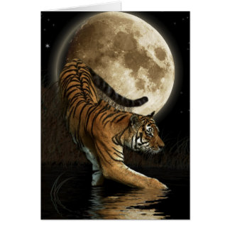 Cartes Salutation-carte de TIGRE et de lune de Bengale