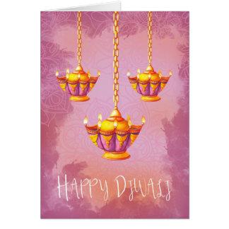 Cartes Salutation de Diwali avec des lumières d'aquarelle