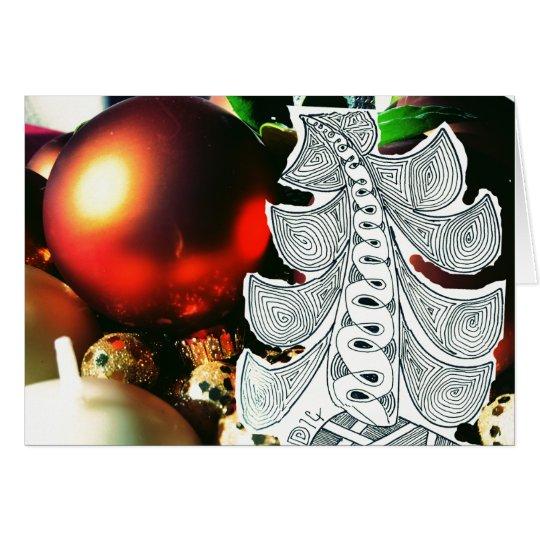 Cartes Salutation de Noël d'arbre et d'ornements de