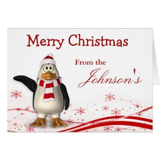Cartes Salutation de Noël de pingouin du père noël de
